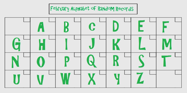 February alphabet of records
